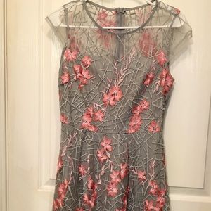 Gray & Pink Floral Dress
